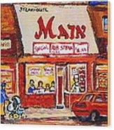 Jewish Montreal Vintage City Scenes The Main Rib Steaks On St. Lawrence Boulevard Wood Print