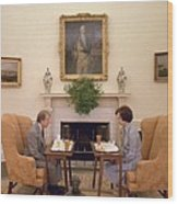 Jimmy Carter And Rosalynn Carter Having Wood Print by Everett
