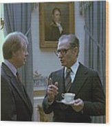Jimmy Carter And The Shah Of Iran Talk Wood Print by Everett
