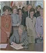 Jimmy Carter Signs A House Wood Print by Everett
