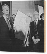 Jimmy Carter With Andy Warhol Wood Print