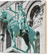 Joan Of Arc At Sacre Coeur Basilica Paris France Wood Print