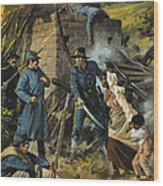 John Brown On 30 August 1856 Intercepting A Body Of Pro-slavery Men Wood Print by Andrew Howart