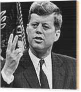 John F. Kennedy, Stating That The U.s Wood Print