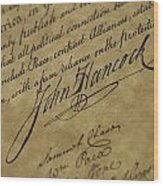 John Hancocks Signature Wood Print