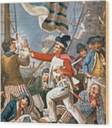 John Paul Jones Shooting A Sailor Who Had Attempted To Strike His Colours In An Engagement Wood Print