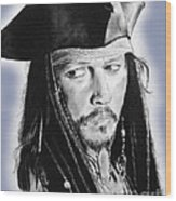 Johnny Depp As Captain Jack Sparrow In Pirates Of The Caribbean II Wood Print
