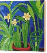 Jonquils And Bamboo Plant Wood Print