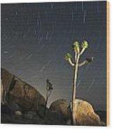 Joshua Tree Star Trails Wood Print by Dung Ma