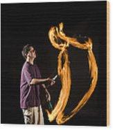 Juggling Fire Wood Print