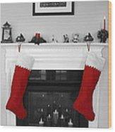 Jumbo Red Stockings Wood Print