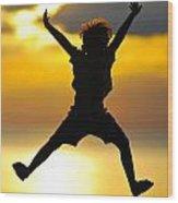 Jumping Boy Wood Print