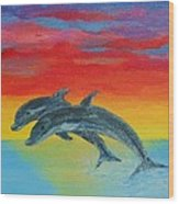 Jumping Dolphins Left Wood Print