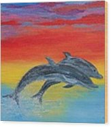 Jumping Dolphins Right Wood Print