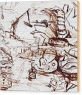 Junkyard  Wood Print