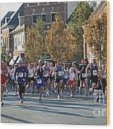 Just After The Gun At A Running Race On A Town Street Wood Print