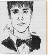 Justin Bieber Suit Drawing Wood Print