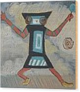 K Is For Kachina Detail From Childhood Quilt Painting Wood Print