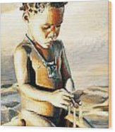Kalahari Little Boy Wood Print