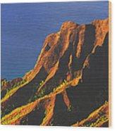 Kalalau Valley Sunset In Kauai Wood Print