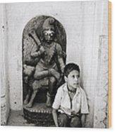 Kali In Benares Wood Print