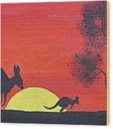 Kangaroo Sunset  Wood Print