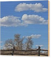 Kansas Country Wooden Fence With Blue Sky And Cloud's Wood Print