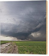 Kansas Distant Tornado Vortex 2 Wood Print by Ryan McGinnis