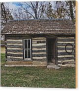 Kansas Log Cabin Wood Print