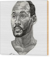 Karl Malone Wood Print by Tamir Barkan