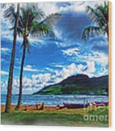 Kauai Beach And Palms Wood Print
