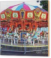 Kauai Carousel At Dusk Wood Print