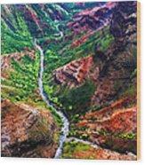 Kauai River Canyon Wood Print
