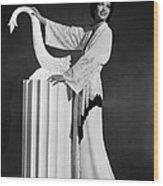 Kay Francis Modeling White-crepe Wood Print
