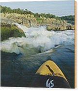 Kayak Noses Its Way Toward A Waterfall Wood Print