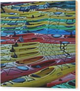 Kayak Row Wood Print
