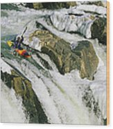 Kayaker At The Top Of A Waterfall Wood Print