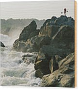 Kayaker Carries Boat Up The Rocks Wood Print