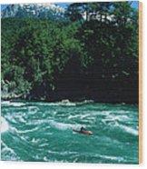 Kayaker Surfing Terminator Rapid Waves Wood Print