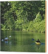 Kayakers Paddle In The Headwaters Wood Print