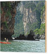 Kayaking In Thailand Wood Print
