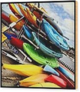 Kayaks For Rent In Rockport Wood Print by Matthew Green