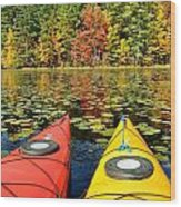 Kayaks In The Fall Wood Print