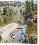 Kayaks On The Kettle Wood Print