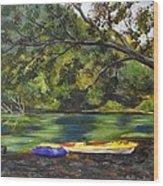 Kayaks On The Little Sandy Wood Print