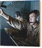 Kc-10 Extender Boom Operator Adjusts Wood Print