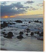Keaweakapu Beach Sunset Wood Print