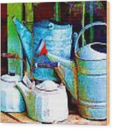 Kettles And Cans To Water The Garden Wood Print
