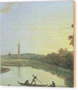 Kew Gardens - The Pagoda And Bridge Wood Print