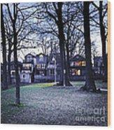 Kew Park At Dusk Wood Print